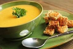 Curried Patty Pan Bisque with Casablanca Croutons Recipe by MorningStar Kitchen
