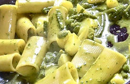 Pasta with Green Olive Pesto Recipe by MorningStar Kitchen