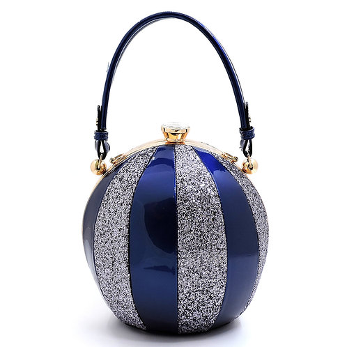 Glossy Metallic Multi Stripe Round Handbag