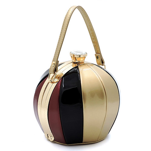 Small Gold Gold Multi-Stripe Ball Shape Evening Bag