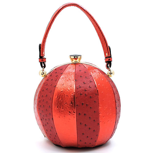Red Ostrich Stripe Round Handbag