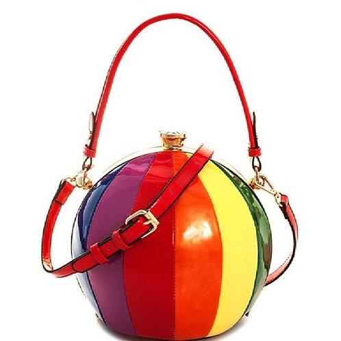 Rainbow Stripe Round Handbag