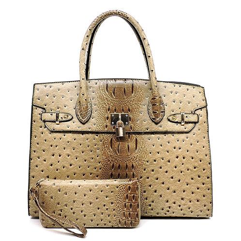 Ostrich Padlock Handbag & Matching Wallet