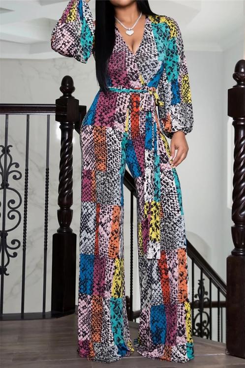 Rainbow Snakeskin Print Jumpsuit