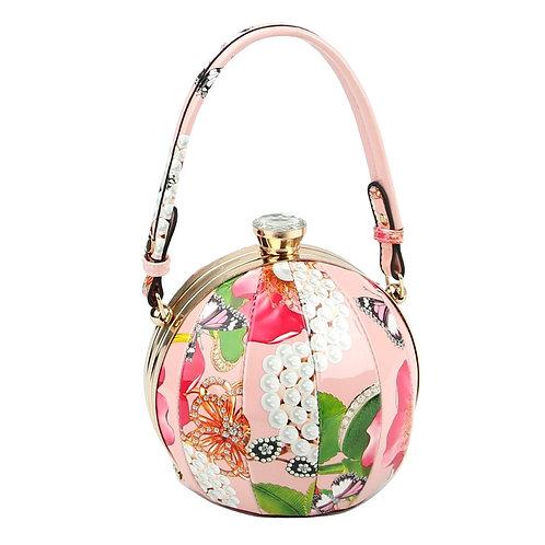 Pink Floral Round Handbag