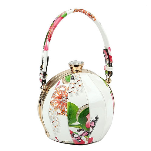 Cream Floral Round Handbag