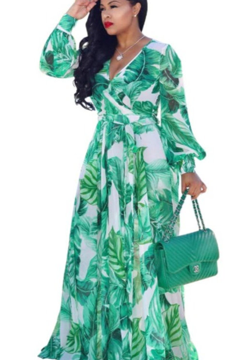 Boho Green Leaf Print Long Sleeve Maxi Dress
