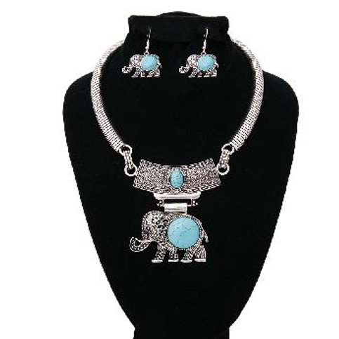 Burnished Silver and Turquoise Stone Elephant Choker Set