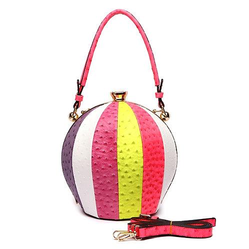 Mutl-Color Stripe Ostrich Round Handbag