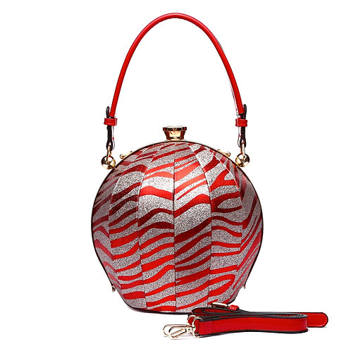 Red Zebra Round Handbag