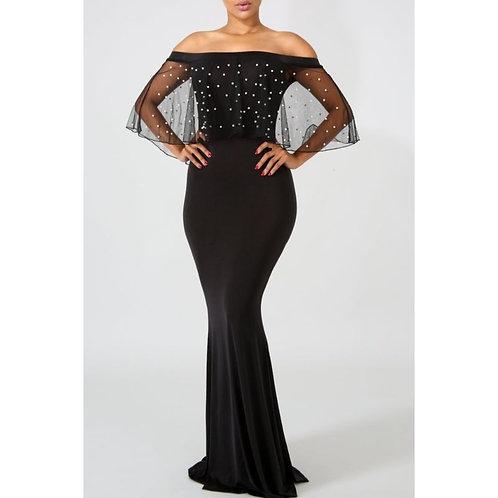 Pearl Mesh Mermaid Dress Evening Gown