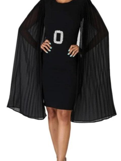 Elegant Cape Dress (with belt) - 3 Colors