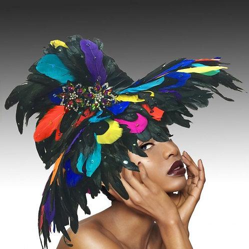 Multi-Color Large Festive Feather Brim Hat