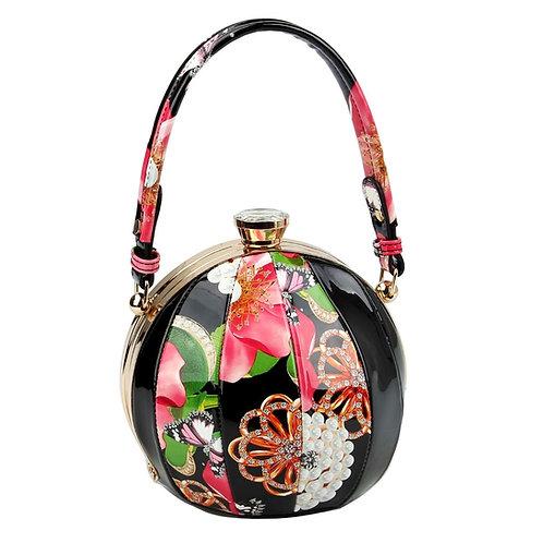 Black Floral Round Handbag