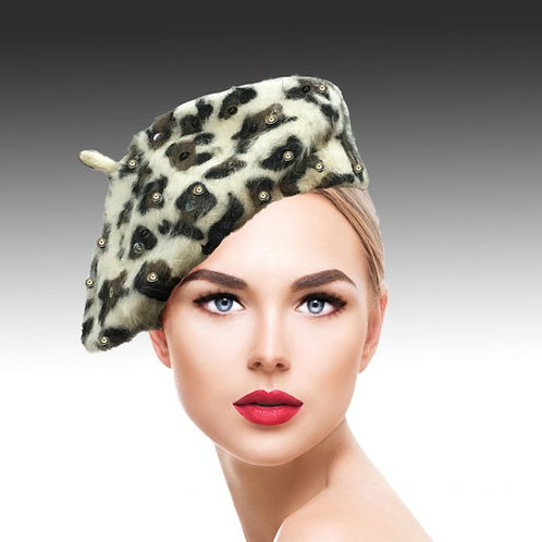 Luxurious Leopard Printed Mohair Beret