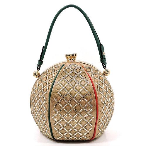 Gold Large Rhinestone Round Handbag