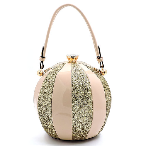 Glossy Metallic Multi Stripe Round Handbag