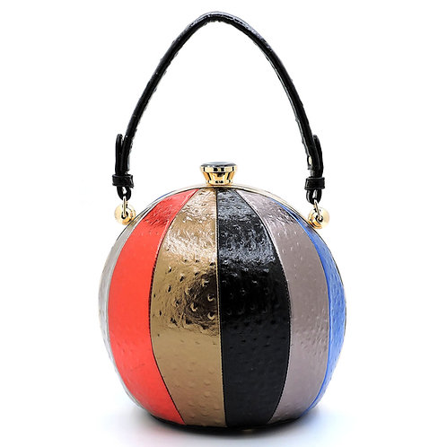 Large Striped Round Handbag