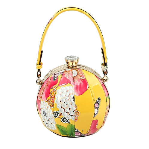 Yellow Floral Round Handbag