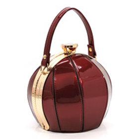 Wine Color Small Ball Shape Evening Bag