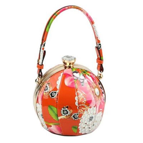 Orange Floral Round Handbag