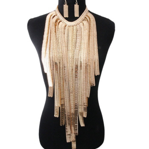 Gold Herringbone Long Drop Chain Necklace Set