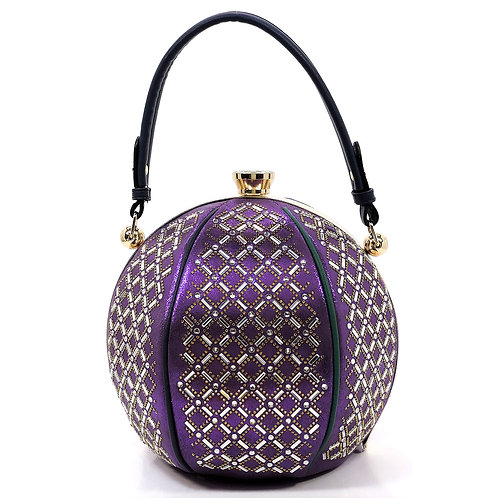 Purple Large Rhinestone Round Handbag