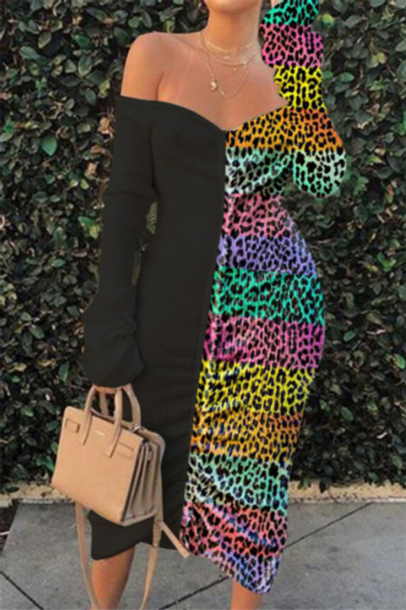 Off Shoulder Multi-Color Leopard Dress