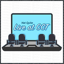 "This image shows a computer screen with theatre seats sitting in front of it. The computer says the words; ""Not Quite Live at CCT"" on it."