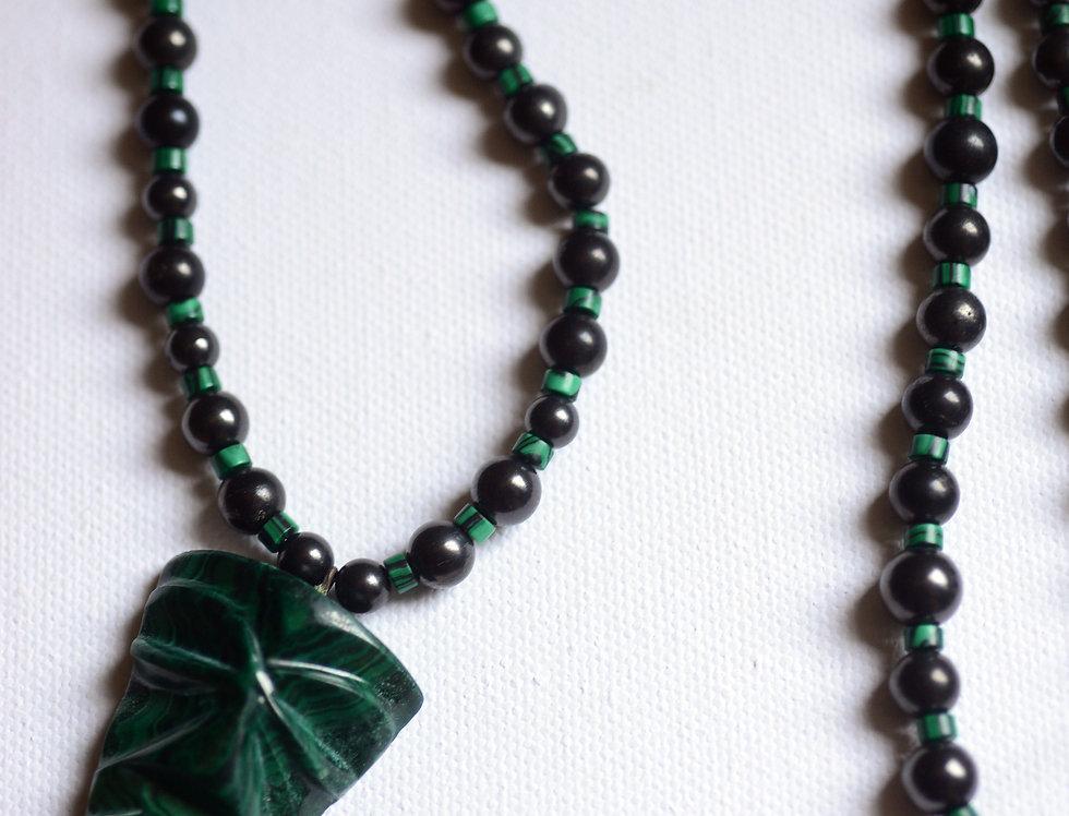 malachiteand shungite tribal protection beads