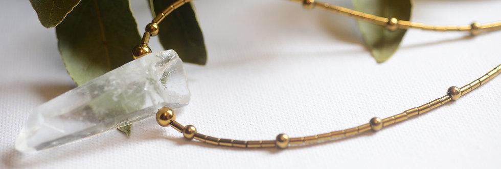 clear quartz, shungite & gold hematite