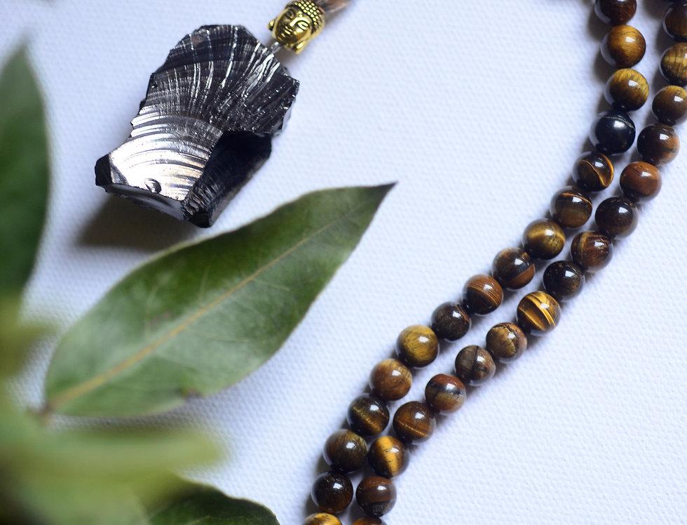 large elite shungite, tigers eye and smokey quartz protection beads