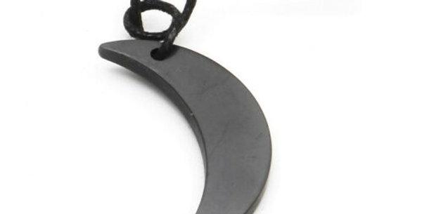 shungite crescent moon necklace
