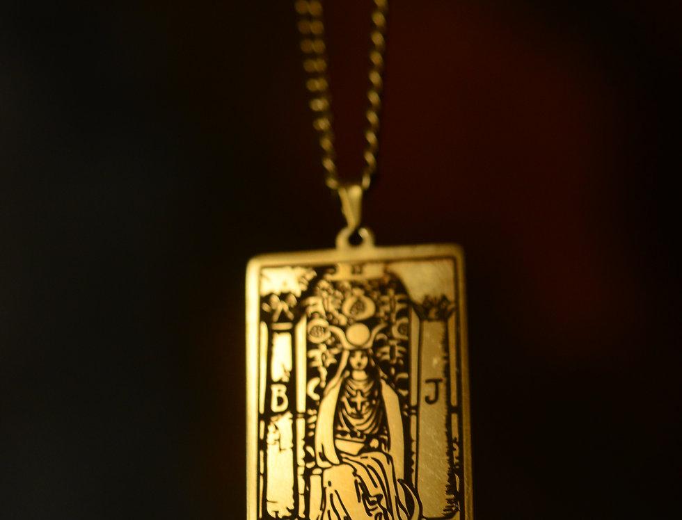 GOLD PLATED HIGH PRIESTESS TAROT NECKLACE
