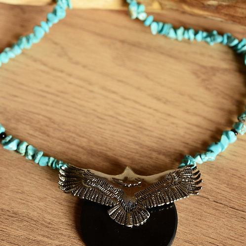Turquoise & shungite eagle talisman