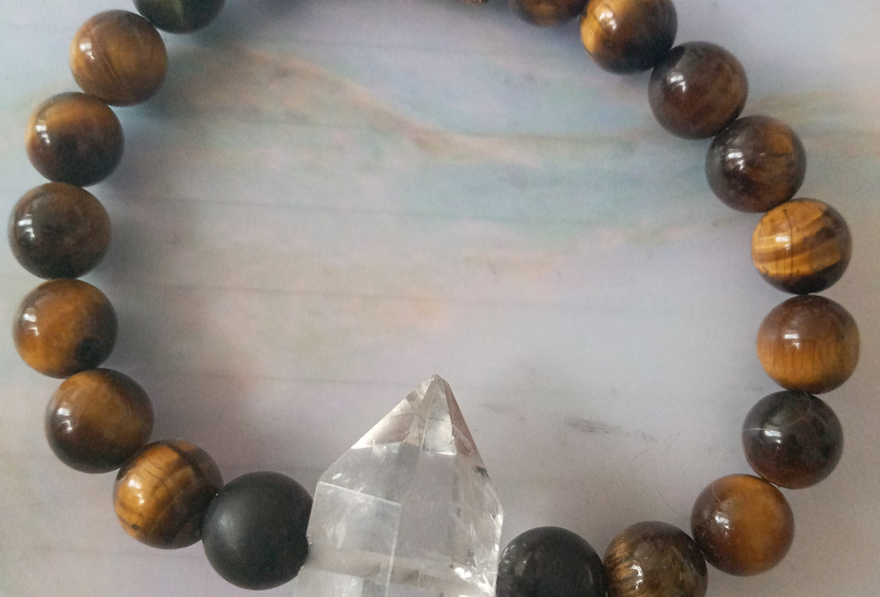 AAA grade clear double pointed quartz, shungite and tigers eye