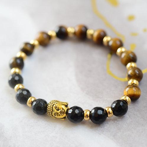 onyx and tigers eye bracelete buddha