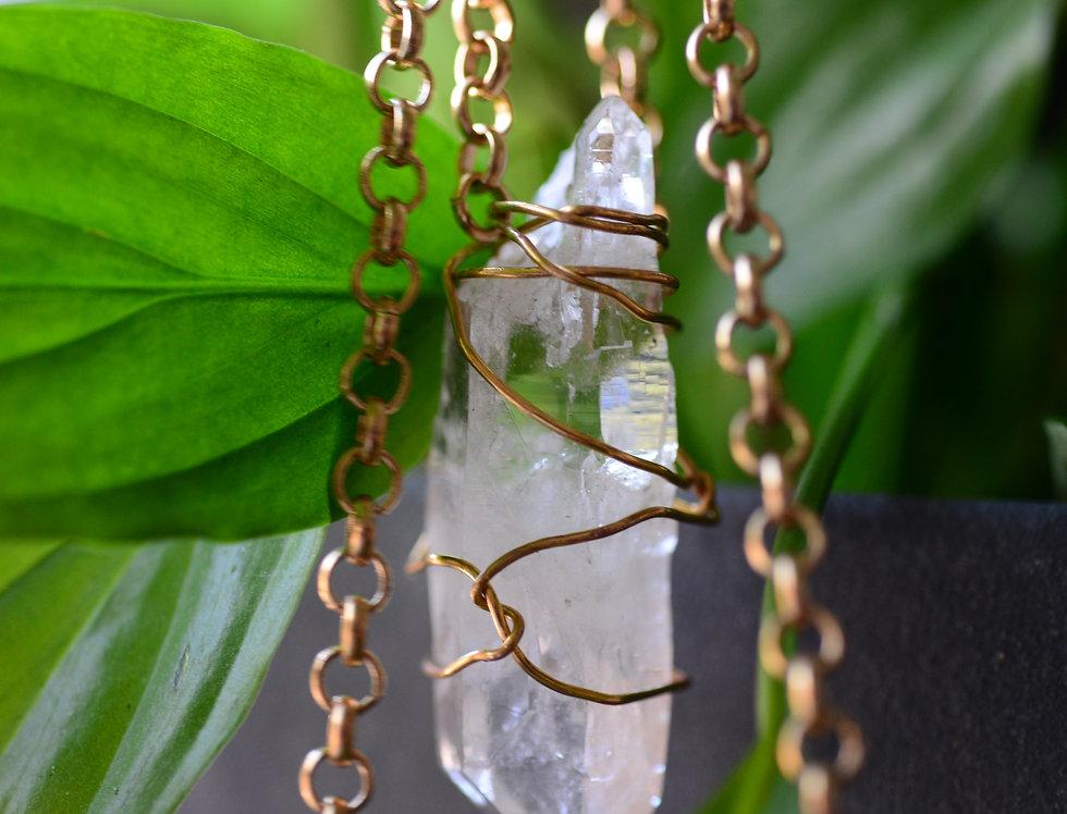 9k gold clear quartz belcher chain