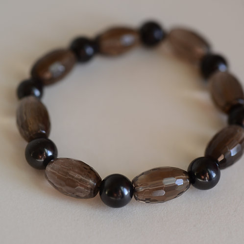 mens smokey quartz and shungite bracelete
