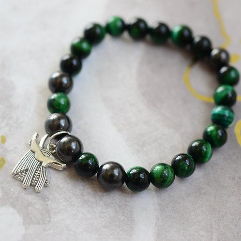 shungite and green tigers eye anubis bracelete mens