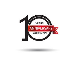10 years anniversary simple logotype wit