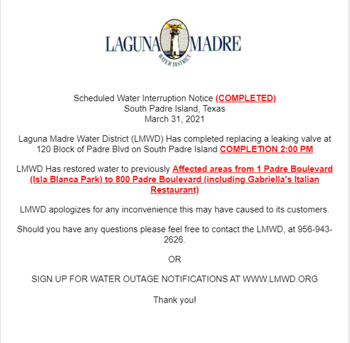south padre island water outage complete