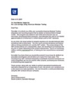 GM testimonial letter