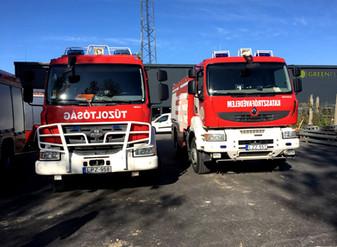 Tűzoltók a Green Plan Energy Kft. telephelyén