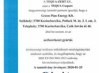 MSZ EN ISO 9001 tanúsítás a Green Plan-nél