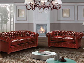 Sofa Chester Leder_ Chester Couch_Rote Ledercouch_ Rotes Leder Sofa_ Echtleder Sofa_ Chesterfield