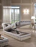 Dormeuse Principe offen, Stauraum, Sofa mit Stauraum, Dormeuse, Dormeuse mit Stauraum, Sommier, Luxusmöbel, Luxussofa, italienische Designermöbel