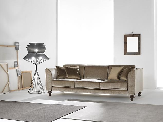 Sofa_Wohnzimmer_CIS Salotti_Couch_klassisches Sofa_braune Couch_Samt Sofa