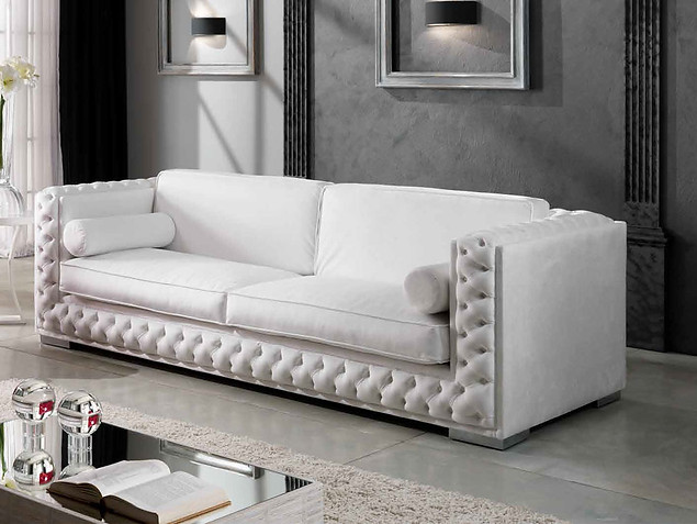 Sofa_weisses Leder Sofa, Couch aus Leder _ Lounge sofa_moderne Couch_Wohnzimmer_Club Einrichtung