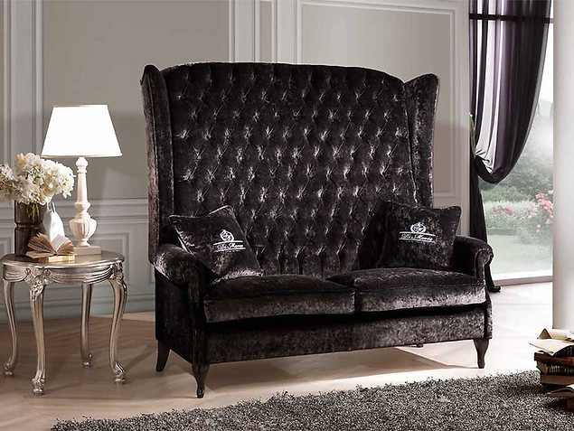 Sofa Berger imperiale_graues Sofa_Samt Sofa_Samt Couch_Couch mit hoher Lehne
